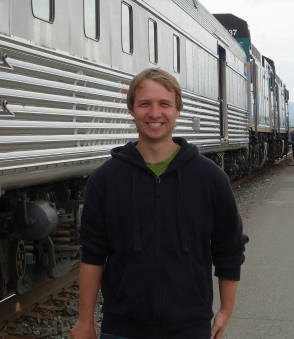 Mike catching the train across Canada